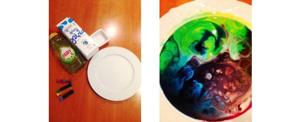 Κάνουμε πειράματα με γάλα, απορρυπαντικό πιάτων και χρώμα