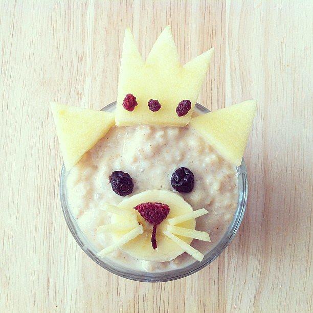 cat-princess-fruit-topped-cinnamon-oatmeal