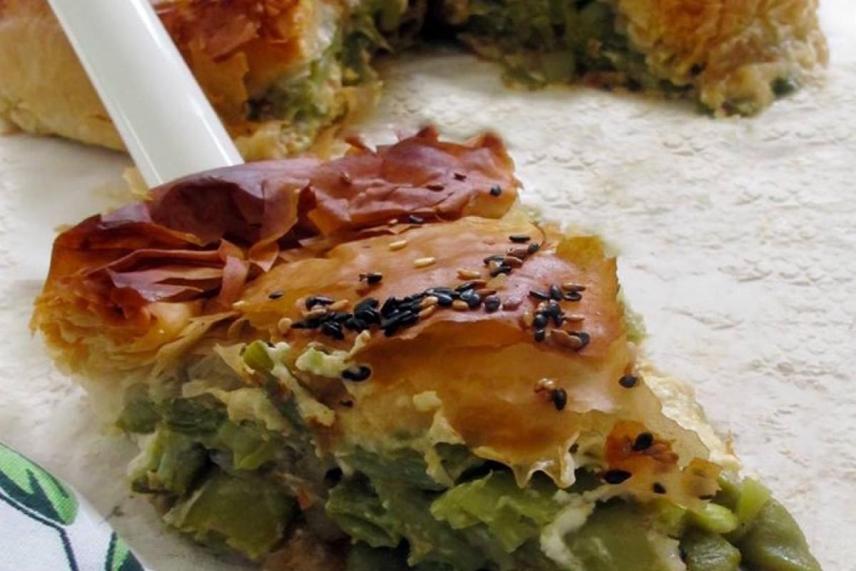 Πίτα με φρέσκα φασολάκια και φέτα