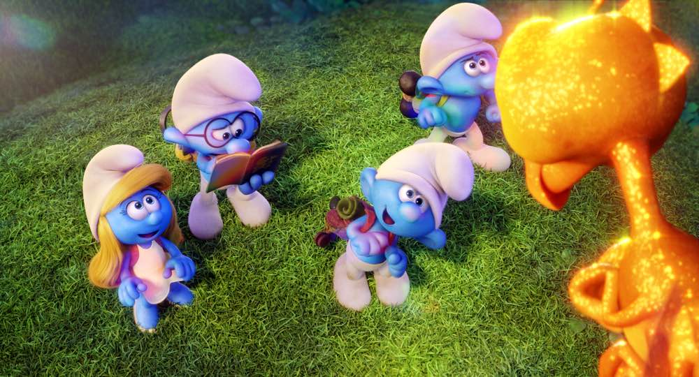 Smurfette (Demi Lovato), Brainy (Danny Pudi) Clumsy (Jack McBrayer) and Hefty (Joe Manganiello) meet a dragonfly in Columbia Pictures and Sony Pictures Animation's SMURFS: THE LOST VILLAGE.